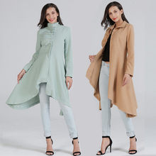 2018 Autumn and Winter Slim Woolen Coat Female Solid Color Was Thin and Long Section Knee-length Wool Coat(China)
