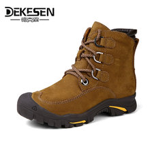 DEKESEN 2016 Men Boots for Russian, First Layer Cow Leather Shoes Man, winter Snow Ankle boots, Safety boots Men Plus size 6-12