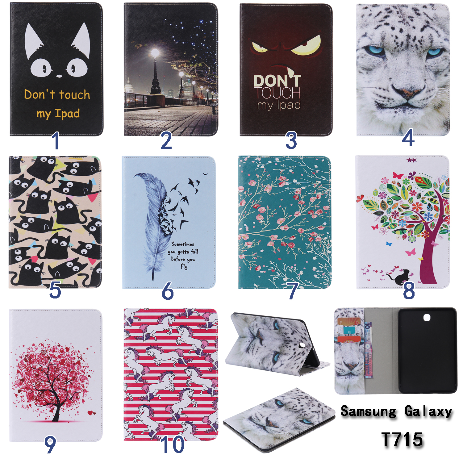 Fashion Flower Cartoon Animal Cat PU Leather Stand Flip Smart Case For Samsung Galaxy Tab S2 8.0 T710 T715 Tablet Book Cover