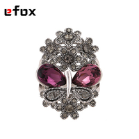 Luxurious Hight Quality Antique Silver Plated Purple Austria Crystal Butterfly Design Vintage Rings For Women