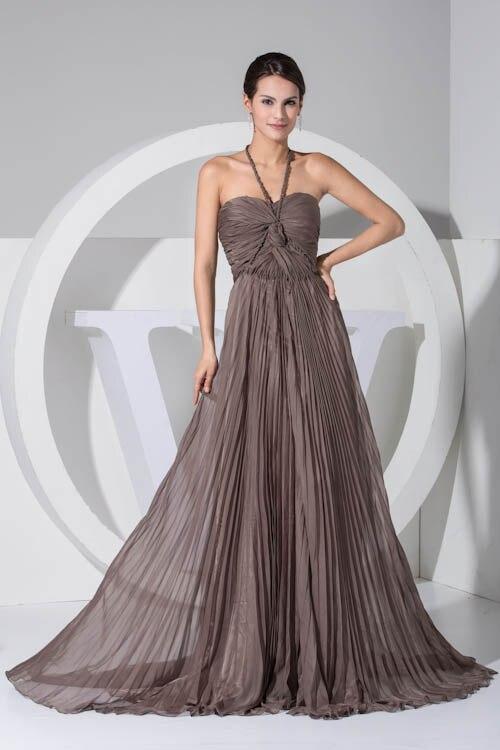 Sexy Backless Halter Solid Chiffon   Bridesmaid     Dresses   Elegant Sleeveless Floor Length Wedding Party   Dresses