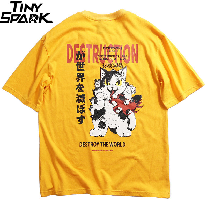 2019 Men   T  -  Shirt   Hip Hop Anime Angry Cat   T     Shirt   Harajuku Japanese Cartoon Tshirt Streetwear Summer Cotton Tops Tee Short Sleeve