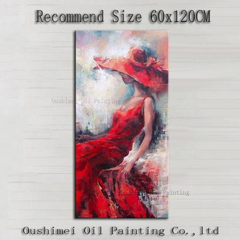 China Superb Artist Handmade High Quality Modern Wall Decoration Beauty Lady Wearing Red Hat and Dress Oil Painting Decorative
