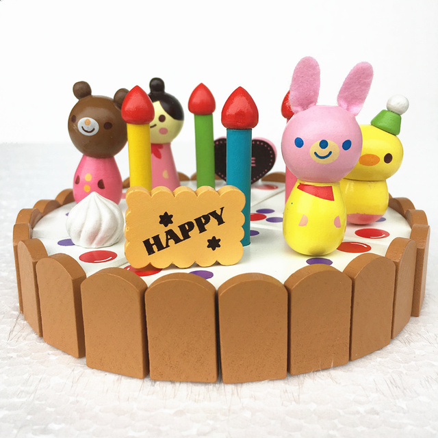 Baby Toys Wooden Birthday Cake Play House Kitchen Toy Mini Birthday