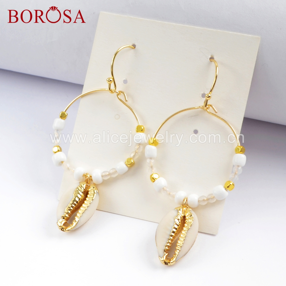 BOROSA 5Pairs Boho Chic Natural Cowrie Shell Round Circle Dangle Earrings Trim Shell Drop Earrings Handcrafted Jewelry HD0005