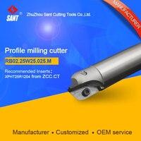 제안 된 BMR03-025-XP25-M 인덱서 블 밀링 커터 SANT RB02.25W25.025.M XPHT25R1204 카바이드 인서트 포함