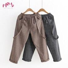 Vintage Women Jumpsuits Japanese Cute Girls Elastic Waist Casual Plaid Overalls Backless Cotton Linen Suspender Wide Leg Pants