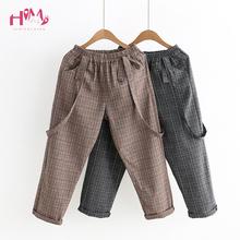 Vintage Women Jumpsuits Japanese Cute Girls Elastic Waist Casual Plaid Overalls Backless Cotton Linen Suspender Wide