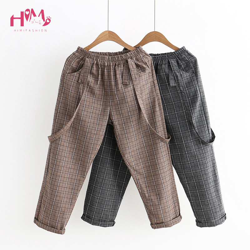 Vintage Women   Jumpsuits   Japanese Cute Girls' Elastic Waist Casual Plaid Overalls Backless Cotton Linen Suspender Wide Leg Pants