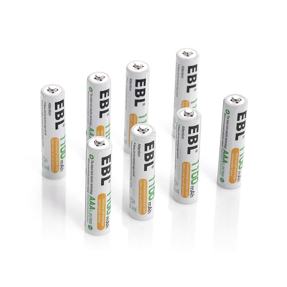 EBL 8 Pack AAA Ni MH Rechargeable Batteries AAA Batteries ProCyco Technology Typical 1100mAh Minimum 1000mAh