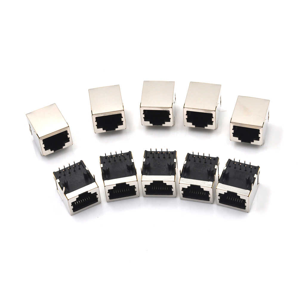 10Pcs/set RJ45 Network Ethernet 8P 8C Female Socket Connectors 8Pin PCB Mount RJ45 8P8C Single Network Port