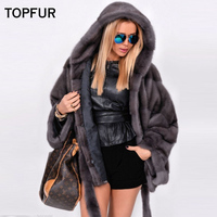 TOPFUR 2018 New Mink Fur Coat Women Bat Type Soft Warm Winter Cloth Loose Type Ladies Luxury 100% Mink Fur Jackets With Quality