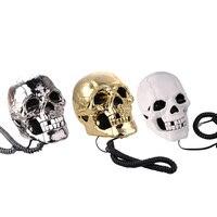Newest Telefone Skull Skeleton Telephone Flashing Eyes Corded Land Line 1 Skull Head Home Desk Telephone