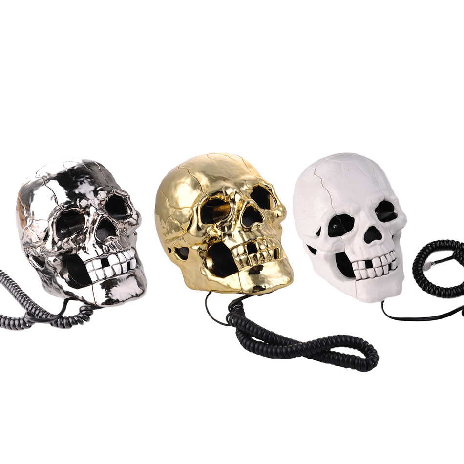 Newest telefone LED light Skull Skeleton Telephone Flashing Eyes Corded Land Line 1 Skul ...
