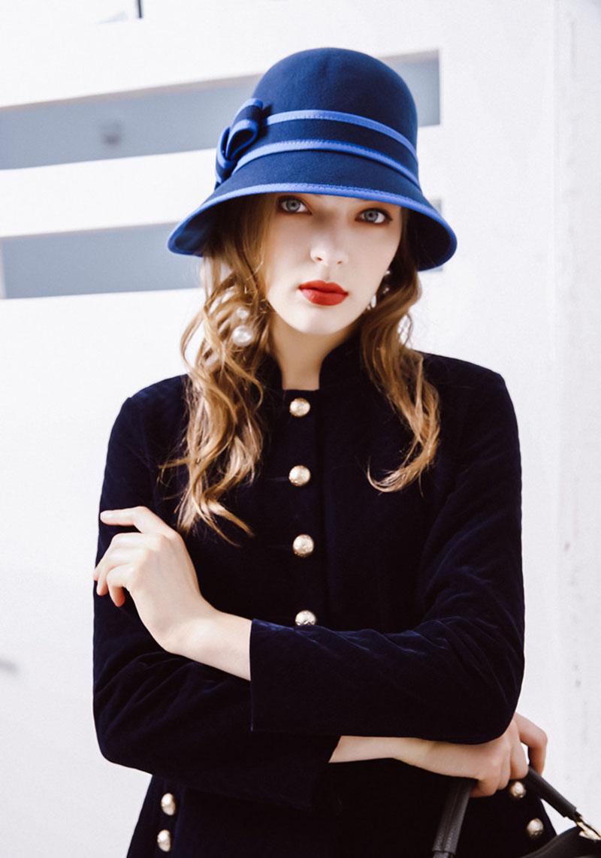ab5b44a89 Fibonacci 2017 New Autumn Winter Dome Bucket Women Fedora Hats Elegant  Lrregular Brim Wool Felt Hat for Female