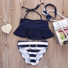 208ef80f778a8 US $8.87 / piece. Free Shipping New Brand Children Girls Bikini Suit  Ruffles Navy Tops Striped Tankini Swimsuit Swimwear two