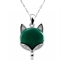 Real 925 Pure Sterling Silver Natural Gem Stones Green Onxy Cubic Zirconia Fox Necklaces & Pendants For Women Fashion Jewelry