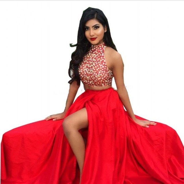 0a035c5b6 Red Two Piece Prom Dresses 2016 Vestidos Cortos De Gala High Neck Beaded  Rhinestones Women Formal Evening Party Gowns