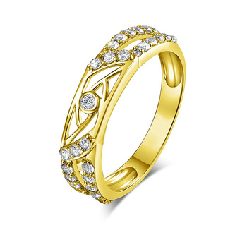 Real Gold TRIO Rings 14K Yellow Gold Hallow Pave Design Couple Wedding Ring Set   1