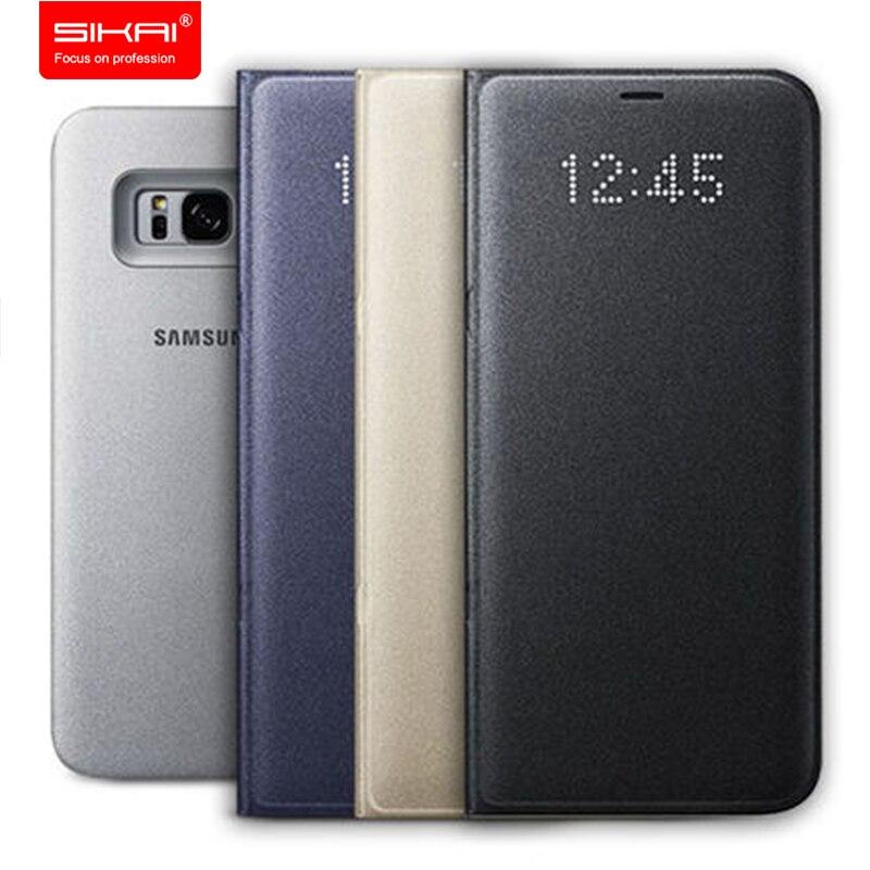 imágenes para 100% Original LED de Cuero Tirón de la Carpeta para Samsung S8 MÁS Inteligente para Samsung Galaxy Cubierta para Samsung S8 S8 MÁS LED PLUS/S8