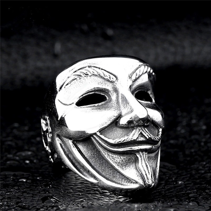 Men vendetta metal Mask skull Ring V for vendetta trendy individuality men mask jewelry dean vendetta xmt
