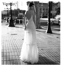 Verngo Elegant Backless Evening Dress V-neck Formal Long Custom Size Robes Longues Długa Sukienka