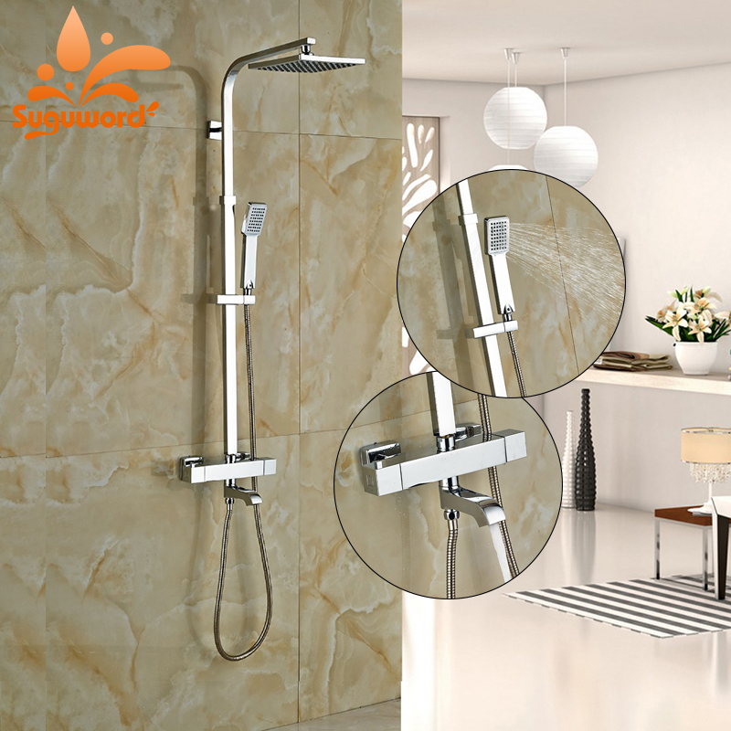Newly Chrome Thermostatic Shower Faucet 8 Shower Head With Hand