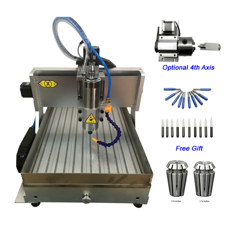 4 Axis 1.5KW USB CNC Router 3020 Metal CNC Cutting Milling Machine Water Tank