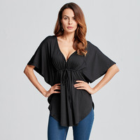 New Blusas 2016 Summer Women Blouses Sexy Casual Loose Blouse V Neck Batwing Sleeve Tee Tops