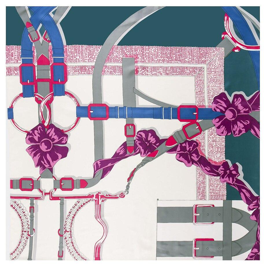 130cm Big Handkerchief Luxury Brand Scarf Belt Chain Print Twill 100% Silk Scarf  Square Scarves Women Kerchief For Ladies Shawl