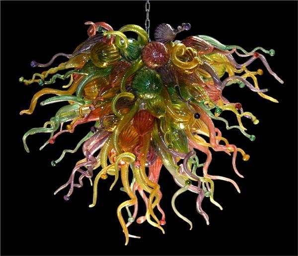 Lustre en verre soufflé 100% fait main multicolore