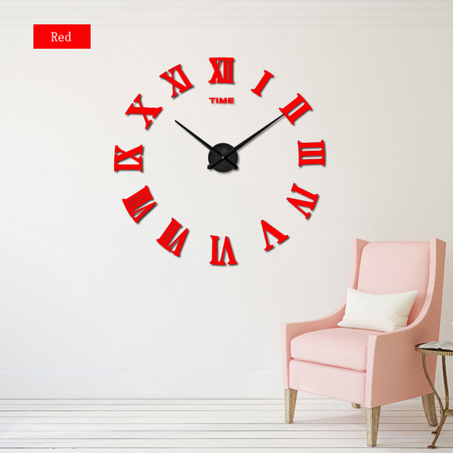 2017  New Arrival Quartz Clocks Fashion Watches 3D Real Big Promotion Home Decor Large Roman Mirror Fashion Modern Wall Clock