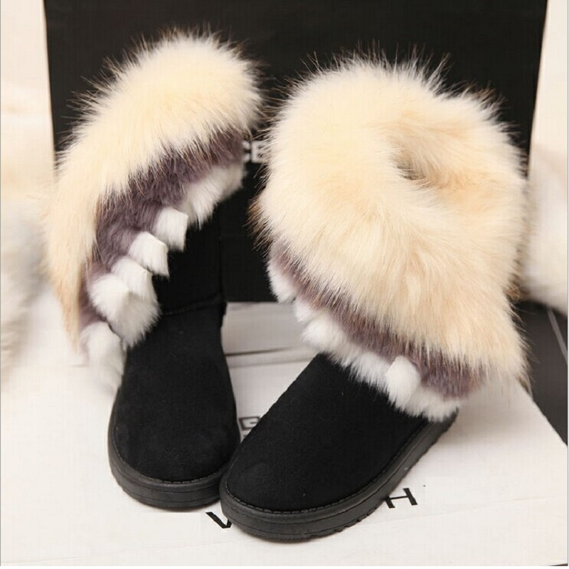 Designer Boots Women Winter Ankle Boots Female Wedges Warm Snow bottes femme Fox Fur Ladies Casual Shoes botas mujer-in Ankle Boots from Shoes