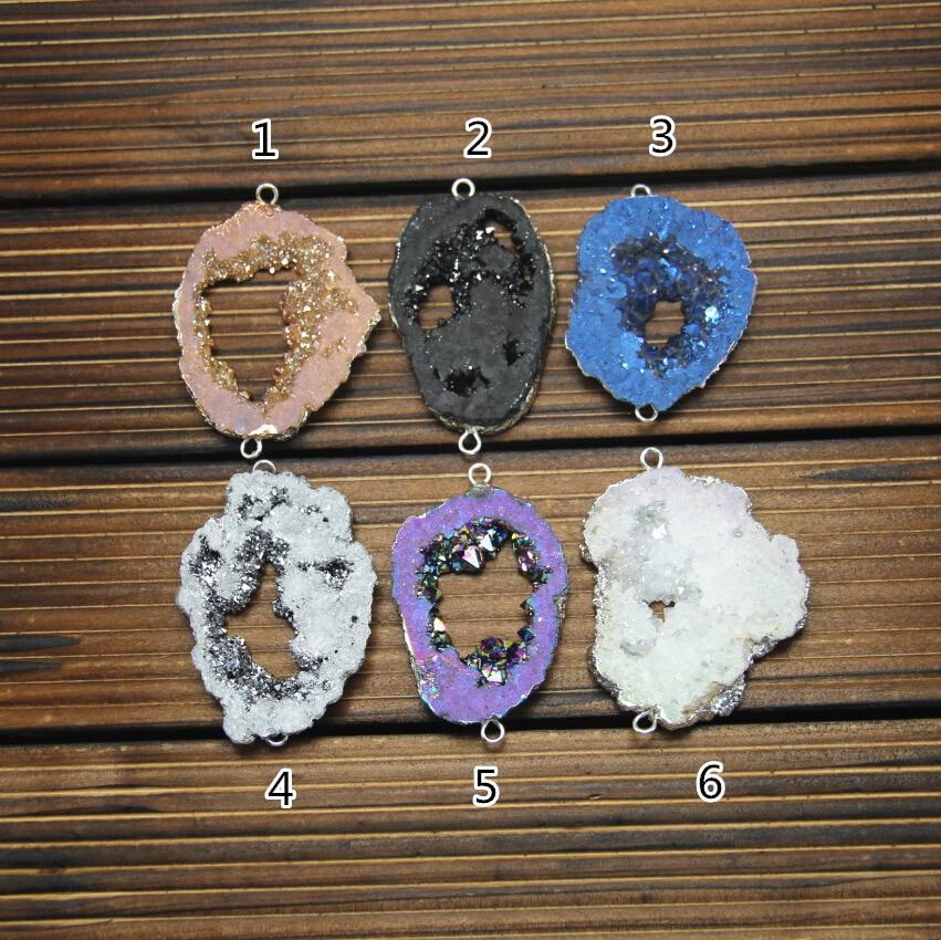 6 цветов, 5 шт. Природный Druzy Титан купля ломтик Бусины Инструменты для наращивания волос, грубые сырые Drusy Geode позолоченные серебряные краями ...