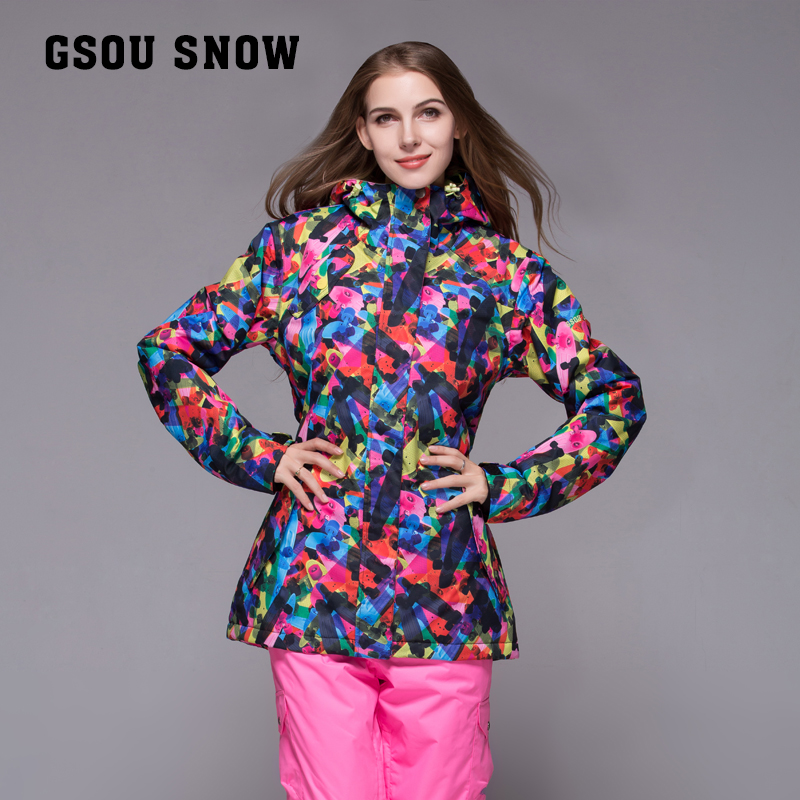 GSOU SNOW womans ski jacket femme winter suit snowboard jacket women skiing veste ski jas dames femme -30 degree skiwear 2017 gsou ski jacket women snowboard winter snow jacket skiwear ski jas heren clothes esqui warm waterproof
