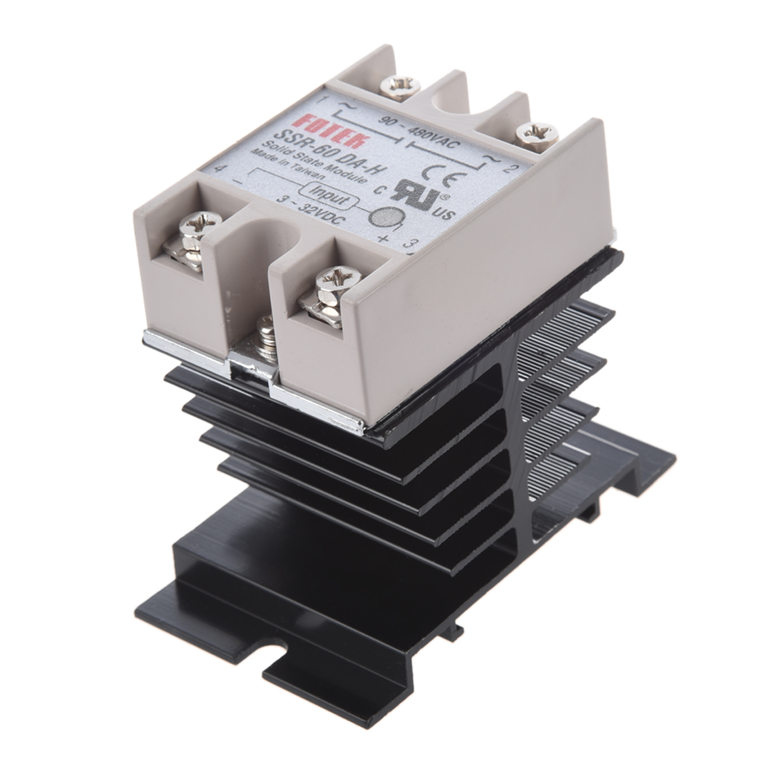 DC to AC SSR-60DA-H AC 90--480V 60A Single Phase Solid State Relay + Heat Sink dc ac single phase ssr solid state relay 120a 3 32v dc 24 480v ac