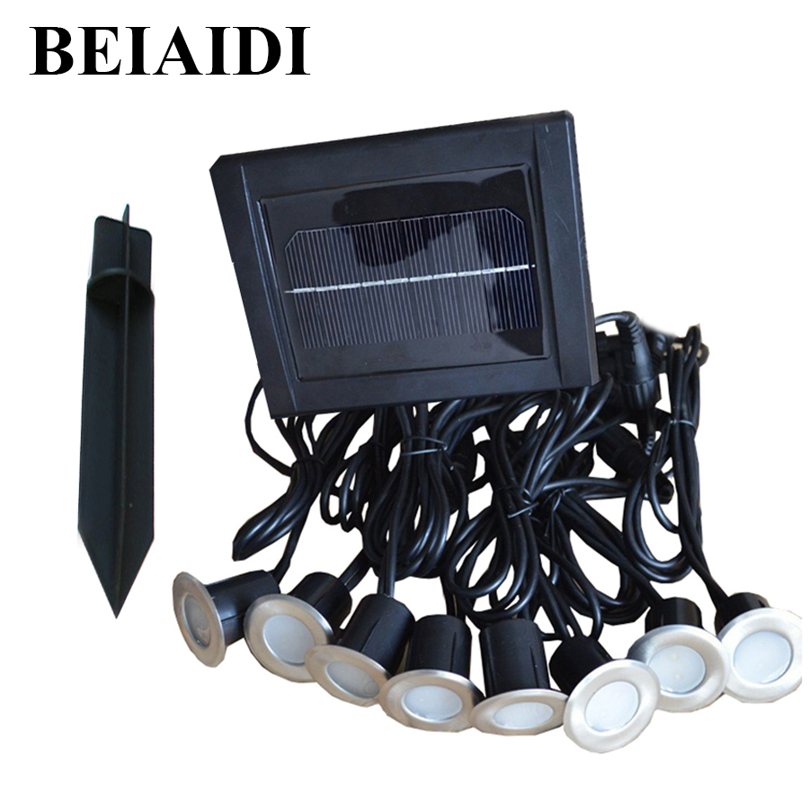 BEIAIDI Solar LED Deck Lights Outdoor Solar Underground Floor Buried Light 1PC Solar Panel With 8pcs Led Spotlight Lamps outdoor lighting solar powered panel led floor lamps deck light 3 led underground light garden pathway spot lights