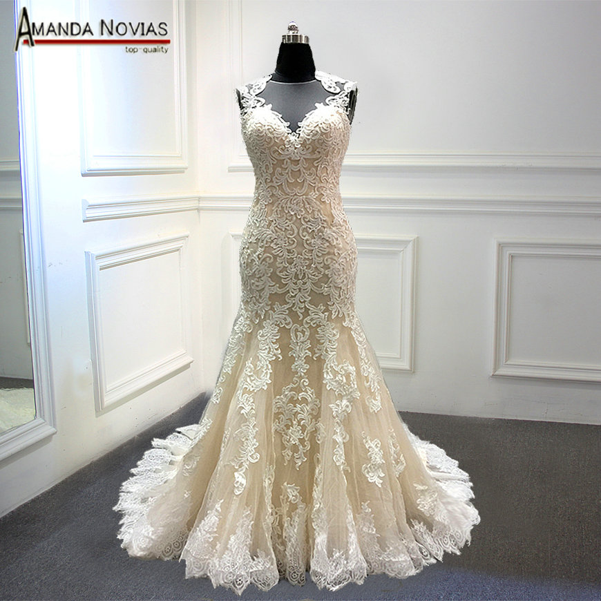 vestido largo new champagne wedding dress with nice back