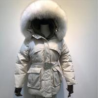 2019 new winter Thick Feather Parka Mujer Raccoon Fur Collar Sashes Loose Down Jacket Womens Winter Duck Coat Overcoat r1427