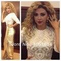 Design de moda Myriam Bordados Lace Apliques Side Slit Longo Árabe Champagne Cetim Vestidos de Celebridades