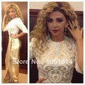 Fashion Design Myriam Fares Embroidered Lace Appliques Side Slit Long Arabic Champagne Satin Celebrity Dresses