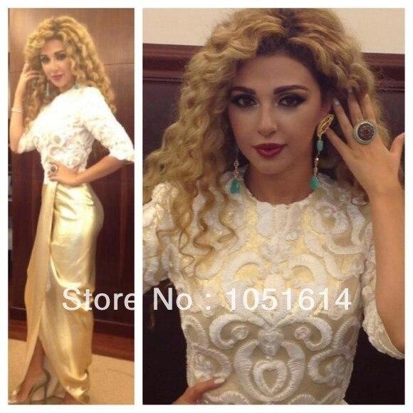 Fashion Design Myriam Fares Embroidered Lace Appliques Side Slit Long Arabic Champagne Satin Celebrity Dresses