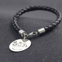 Плетеный кожаный браслет персонализированные любовь Семья браслет дети hanwritten рисунки Браслеты чистого серебра