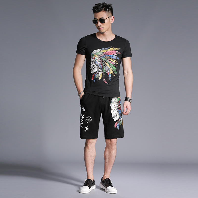 American style Indian pattern printing fashion casual t shirt and shorts set Summer 2018 New quality cotton tracksuit men M-4XL