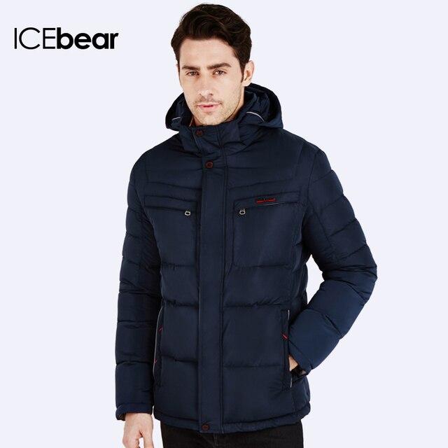 ICEbear 2016 Зимние куртки для мужчин Парка молодежная стильная Наполнитель куртки Био-Пух Теплый пальто и стильный жакет Пуховик капюшоном 16MD866