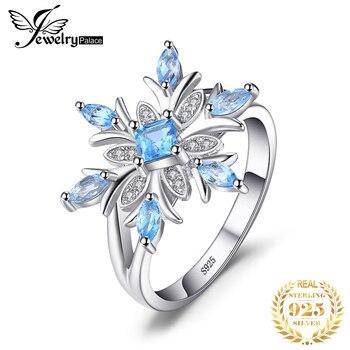 JewelryPalace Snowflake oryginalne niebieski Topaz pierścień stałe 925 Sterling Silver biżuteria moda pierścień dla kobiet prezent na Boże Narodzenie na sprzedaż