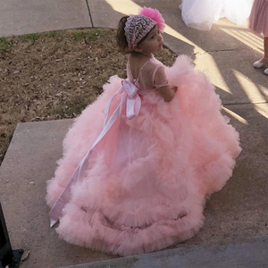 Image 2 - Aibaowedding Fancy Puffy Pink Pageant Dresses for Girls Long Kids Ball Gowns Vestido de Tulle Flower Girl Dresses for Wedding