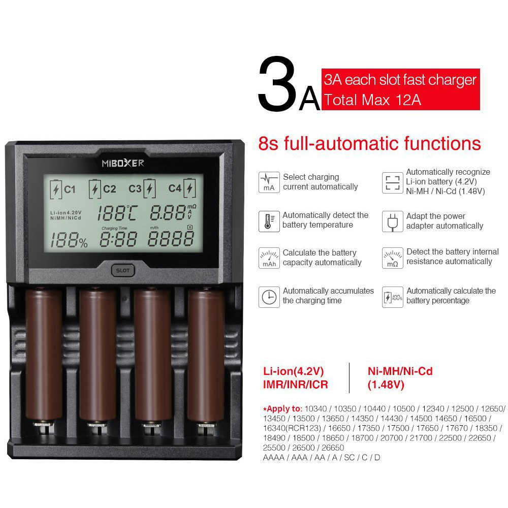 Miboxer 4 слота 3A/Лот ЖК-экран зарядное устройство для li-ion/Ni-MH/Ni-Cd 18650 14500 26650 AAA пальчиковые батарейки