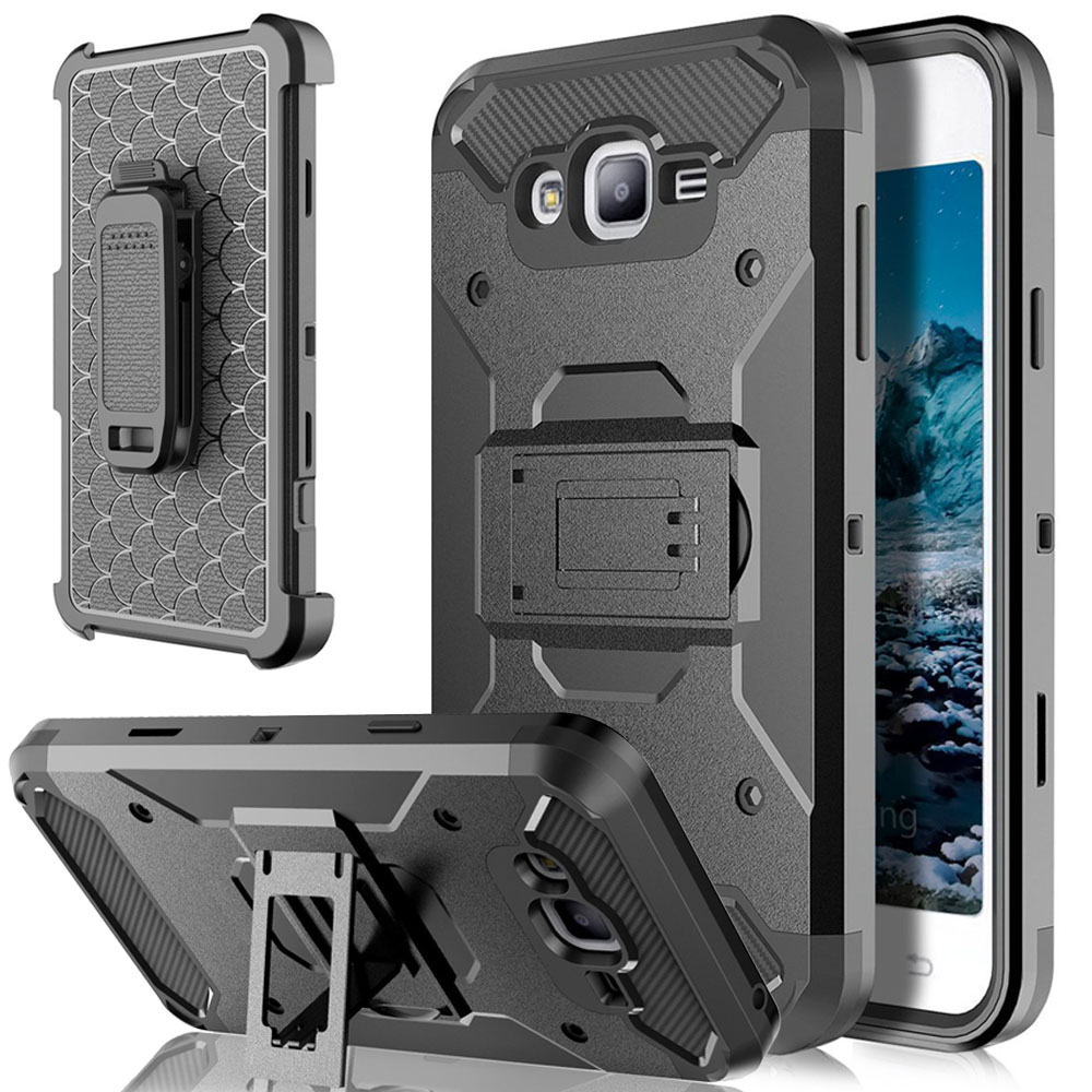 Armor Case Kickstand Belt Clip Holster Cover För Samsung Galaxy J1 J3 J5 J7 2016 2017 / S7 Edge S8 Plus Aktiv / Note 8 / XCover 4 / On5