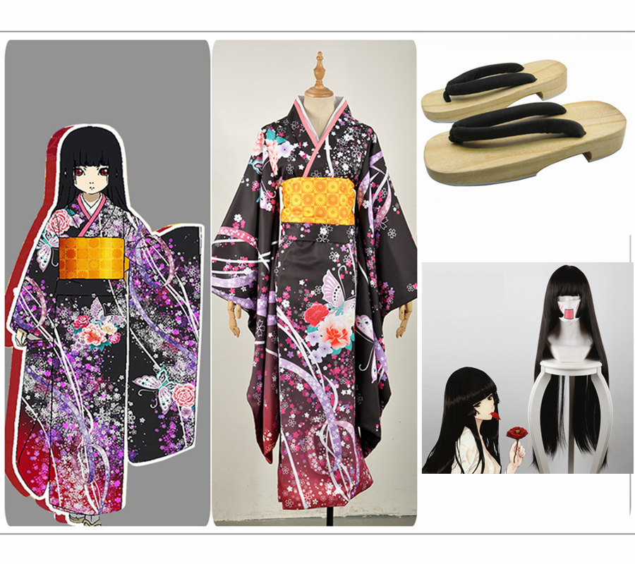 Hell Girl Jigoku Shou Enma Ai Cosplay Costume Custom Girl Dress Japanese Traditional Glorious Black Kimino Wooden Clogs Wig